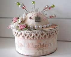 Great idea for sewing box - pincushion on lid and box to keep sewing supplies in! :)