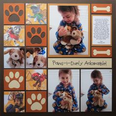 How Cute! This scrapbook layout idea is perfect for showing a girl's best friend! Don't forget to take photos of children's toys so they can have these memories forever. Click to see all the scrapbook tips for a paws-i-tively adorable page!