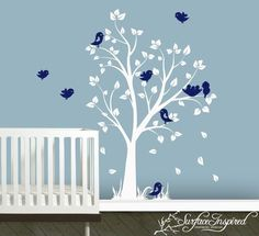 Wall Decal Nursery Tree Decal with Birds by SurfaceInspired, $74.99