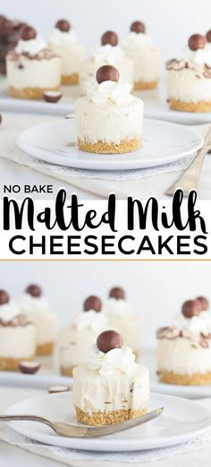 No Bake Malted Milk Cheesecakes Malted Milk No Bake Cheesecakes – These mini cheesecakes are packed full of malted milk flavor. They have a thick graham cracker crust and a malted milk cheesecake mousse, and are topped with a malted milk ball. Mini Desserts, Mini Cheesecake Recipes, No Bake Desserts, Easy Desserts, Delicious Desserts, Dessert Recipes, Best No Bake Cheesecake, Cheesecake Mousse Recipe, Camping Desserts
