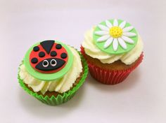 12 Ladybug Cupcake Fondant Toppers Flower Fondant by LenasCakes, $19.95