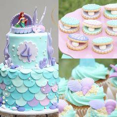 #mermaidcakes #ariel #thelittlemermaid #cakes #cupcakes #cookies #pearls #seashells #pink #purple #turquoise #seaweed #event #buttercream #oyster #oystercookies #seashellcookies #sand #fondant #bakels #yum #girls