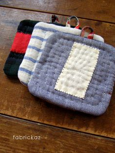 handmade coasters by fabrickaz. LOVE the stitching. entry on 08.12.2010