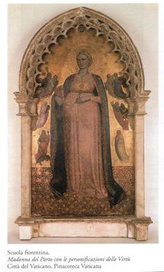 Scuola Fiorentina, fine XIV secolo, Madonna del parto con le personificazioni delle virtù , Pinacoteca Vaticana (667×1110)