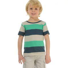 Camiseta A Rayas Verde Y Azul Marino