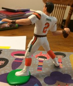 Custom Johnny Manziel Starting Lineup. Rear view, without helmet.