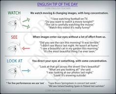 English Tip of the Day: Watch; See; Look At