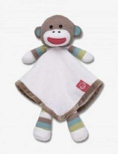 """I gotta get one of these!!! """"Baby Starters White Sock Monkey Security Blanket Lovey Rattle Snuggle Buddy NWT"""""""