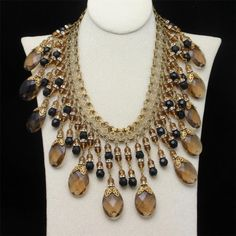 Miriam Haskell Fringed Cleopatra Necklace Black & Topaz Glass Stones Vintage A+ #MiriamHaskell #Cleopatranecklace