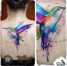 Watercolor Hummingbird Tattoo on Back by Ewa Sroka