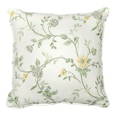 Add a touch of feminine style to your sofa, arm chair, or window seat with this lovely linen pillow, showcasing a floral and vine motif in a soft taupe palet...