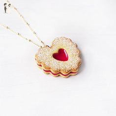 Elfi Handmade Cute Heart Shape Jam Cookie Necklace, Marmalade Biscuit Jewelry, Linzer Heart Jewelry ,Kawaii,perfect for Christmas gift - Wedding nacklaces (*Amazon Partner-Link)