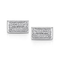 KATIE Z: White Gold Minimalistic Diamond Bar Studs