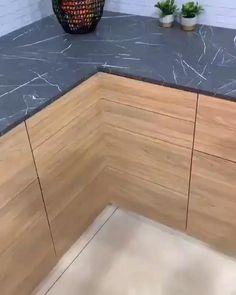 Kitchen Pantry Design, Diy Kitchen Storage, Modern Kitchen Design, Home Decor Kitchen, Kitchen Interior, Kitchen Corner, Corner Cabinet Storage, Kitchen Cabinets Design Layout, Pig Kitchen