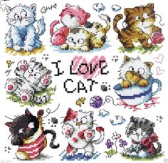 """""""I Love Cat"""" Counted cross stitch chart.(pattern leaflet)"""