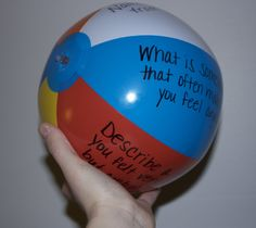 Alternative to an expensive therapy ball! Make your own therapy ball out of the… Counseling Activities, Group Counseling, Therapy Activities, Play Therapy, Therapy Ideas, Therapy Games, Icebreaker Activities, Family Therapy, Therapy Tools