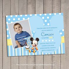 Baby Mickey 1st Birthday Invitation / Baby by LittleRainbowDesign, $12.00