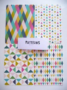 Cards Geometric and colors print por mademoiselleyo en Etsy