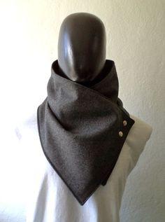 Men scarf. Men cowlWide Dark grey wool with by CheriDemeter, $32.50