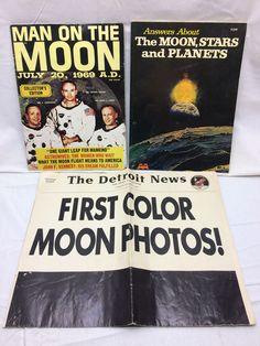 3 Vintage Apollo & Moon Literature 1969 Man on the Moon Magazine Book Newspaper