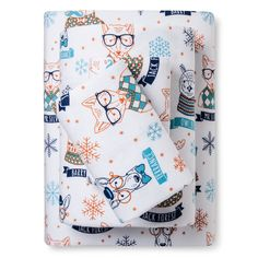 Hipster Animal Flannel Sheet Set (Queen) - Pillowfort, Blue