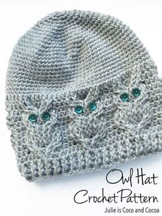 PDF pattern to make your own Crochet Cable Owl Hat! Written pattern uses American Crochet terms. Finished hat will fit an adult woman. See a video for the owl cable here https://youtu.be/1ghckwFh8_s  Prefer to knit? Check out my knit Owl Hat Pattern https://www.etsy.com/listing/289936239/owl-knit-hat-pattern  Questions? Email Julie at mailto:cocoandcocoa@gmail.com  Find more patterns, including some free ones, on my website http://julieiscocoandcoco...