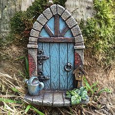 Miniature Hobbit Pixie Elf Fairy Door Tree Garden Home Decor Fun Quirky Gift for sale online Diy Fairy Door, Fairy Doors On Trees, Fairy Garden Doors, Fairy Garden Houses, Tree Garden, Hobbit Door, Gnome Door, Clay Fairy House, Clay Fairies