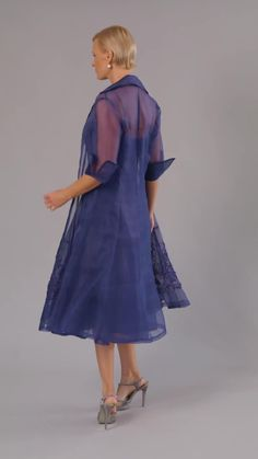 Living Silk - specializing in navy dresses and two piece outfits with sleeves for the modern and elegant mother of the bride and mother of the groom at a beach, boho, garden, country, cocktail or formal wedding in Spring/ Summer or Fall/ Winter   Mother of the Groom Dresses #livingsilk #motherofthebridedresses #motherofthegroomdresses #celebrateinsilk #puresilk #navydresses Mother Of Groom Dresses, Bride Groom Dress, Groom Wear, Mother Of The Bride, Tea Length Dresses, Two Piece Outfit, Formal Wedding, Silk Dress, Pure Silk