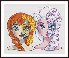 BUY 2 GET 1 FREE! Disney Princess Sugar Skull Elsa and Anna 279 Cross Stitch Pattern Counted Cross Stitch Chart Pdf Format / 165143 by icrossstitchpattern on Etsy Disney Kunst, Arte Disney, Disney Magic, Disney Frozen, Disney Art, Elsa Frozen, Film Disney, Disney Movies, Disney Characters
