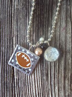 Football mom sports pendants number name charm and team colors football mom necklace mozeypictures Gallery
