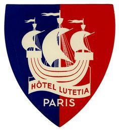 Hotel Lutetia - Paris (Luggage Label) by Artist Unknown (1930 ca.) | Shop original vintage posters online: www.internationalposter.com