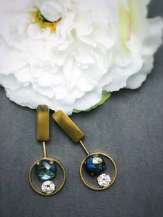 Gold plated earrings with labradorite and cubic zirconia Gold Plated Earrings, Drop Earrings, Still Life Photos, Labradorite, Collections, Handmade, Jewelry, Hand Made, Jewlery