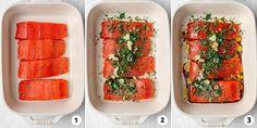 Garlic Cilantro Baked Salmon {Easy Marinade} - FeelGoodFoodie Salmon Marinade, Oven Baked Salmon, Keto Pumpkin Pie, Salmon Seasoning, Lime Wedge, Salmon Fillets, Cilantro, Main Dishes, Garlic