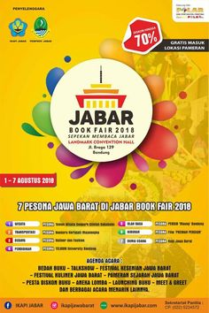 Jabar Book Fair – Bandung Agenda acara:  Bedah buku Talkshows Festival kuliner Pameran sejarah Aneka lomba Launching buku Diskon buku Dan lainnya