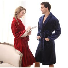 6971 New Women Men Long Sleepwear Robes Shawl Collar Bathrobe Spa Coral Flannel Bride Dressing Gown, Male Kimono, Plus Size Kimono, Flannel Material, Peignoir, Coral, Gowns, Fashion Men, Lounge