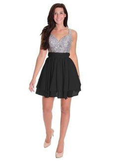Short sequin homecoming dress with straps under $60