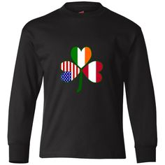 Share your love and pride in all your heritages, cultures and ancestries with this green #shamrock with flags of #Austria, Ireland and the United States of America in the leaves. $24.99 http://ink.flagnation.com from your @AuntieShoe
