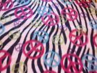 Flannel Panel Peace Signs and Zebra Print 1 yard - Flannel, Panel, Peace, Print, signs, yard, Zebra