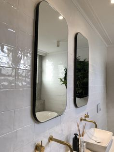 An addition to our popular mirror range, the Errol Curve series, this mirror features gently rounded corners and balanced proportions. A versatile and timeless piece, this mirror works equally well in a entry space, dressing-room or hallway. Black And White Tiles Bathroom, Mirror Replacement, Black Bathroom, Rectangular Bathroom Mirror, Bathtub Decor, Bathroom Mirror Lights, Bathroom Mirror Frame, Bathroom Design, Bathroom