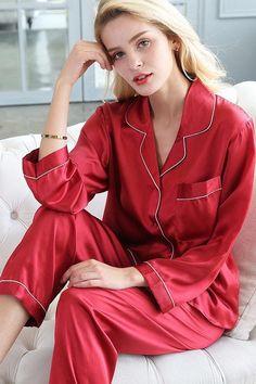Women's Silk Pajama Set – Karen Fung - Suit Fashion Satin Sleepwear, Satin Pyjama Set, Satin Pajamas, Pajama Set, Satin Dressing Gown, Dress Design Sketches, Valentino, Silky Dress, Suit Fashion