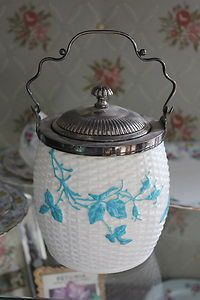 ANTIQUE SHAbbY BLUE BUTTERFLY & FLORALS BASKET STYLE BISCUIT BARREL