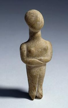 Female figure with folded arms. Eastern Mediteranean, Greece, Cyclades. Early Cycladic I, precanonical variety (c. 3200-2800 BC). Marble. h 9.4 cm. Acquired 1961. Robert and Lisa Sainsbury Collection. UEA 347