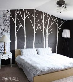 Vinyl Wall Decal Wall Sticker Tree Decal Art - Winter Trees - set of 6 trees with 10 FREE FLYING BIRDS - 036. $85.00, via Etsy.