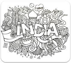 раскраски для взрослых, раскраски антистресс, країни, путешествие,  сложные раскраски антистрстраныраны, путешествия, Индия