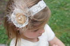 Burlap, Ivory Lace, Soft Feathers, Hair Piece, Lace Headband, Flower Girl, Baby Headband, Weddings, Rustic Head Wear