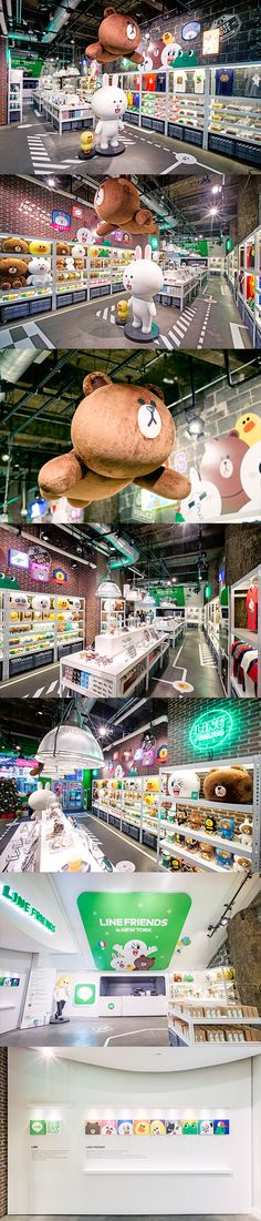 'LINE FRIENDS in NEWYORK' is the first pop-up store to open in the North American region, and the LINE FRIENDS pop-up store. More than 2 million people visited the Times Square location every day where visitors can see over 360 various LINE FRIENDS Toy Display, Visual Display, Stand Design, Booth Design, Daegu, Kids Play Spaces, Kids Cafe, Store Layout, Line Friends