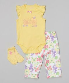 Look at this #zulilyfind! Yellow & Floral 'Lovely Ride' Bodysuit Set by Baby Headquarters #zulilyfinds