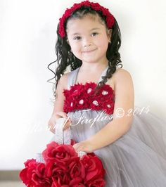 Gray Flower girl dress, Grey Shabby Chic Tutu Dress, Dark Red Shabby Chic Flowers - OTHER COLORS AVAILABLE 12-24 Mo, 2t, 3t, 4t, 5t, 6  by FrillsandFireflies