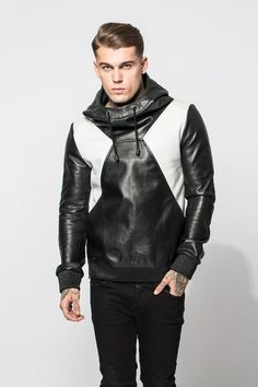 Men's black and white faux leather sweatshirt wth hood worn with black pants.. DIY the look yourself: http://mjtrends.com/pins.php?name=veggie-leather-for-shirt