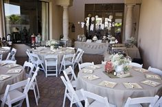 Like the round table setting with white chairs. VIntage Themed Neutral Baby Shower.